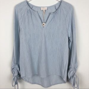 NWT Lucky Brand Light Blue Peasant Blouse   XS